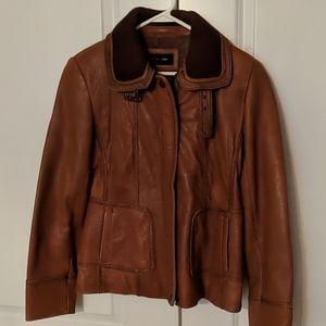 Jones New York camel leather bomber jacket, Size L